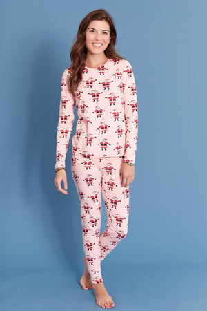 Pink Chicken Women's Holiday PJ Set XS strawberry cream santa