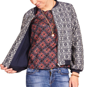 Pink Chicken Bomber Jacket xs navy jacquard - 17fpcw353a