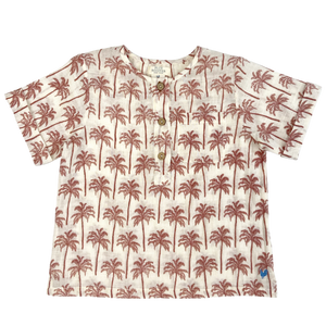 Pink Chicken Wylie Shirt 2y raw umber palm trees