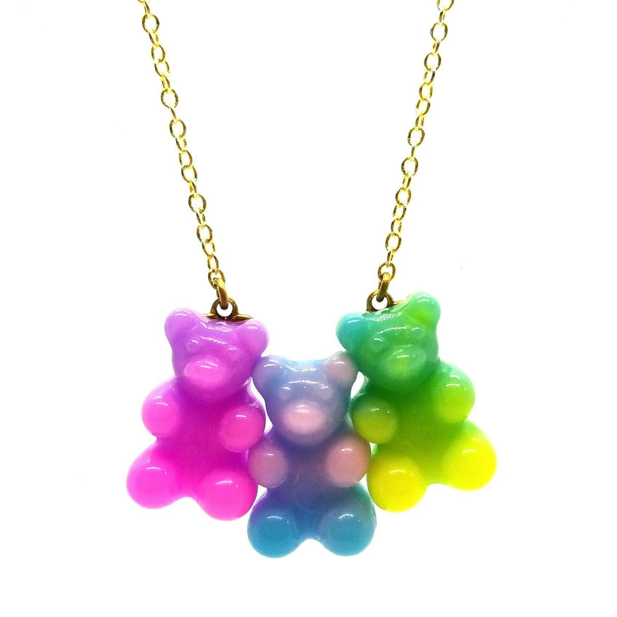 Pink Chicken Gummy Bear Necklace - Rainbow Swirl