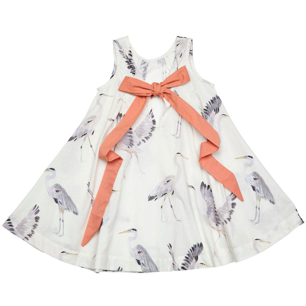 View larger version of Pink Chicken Agnes Dress 2y antique white herons - 18rpc116a