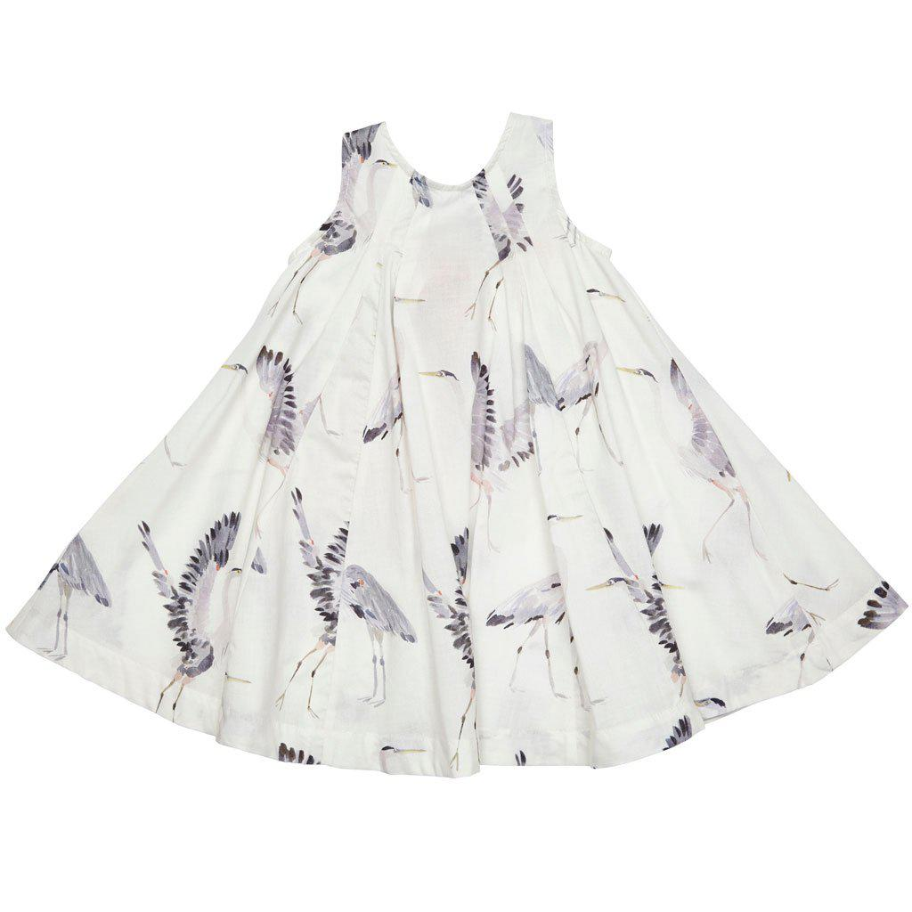 Pink Chicken Agnes Dress 2y antique white herons - 18rpc116a