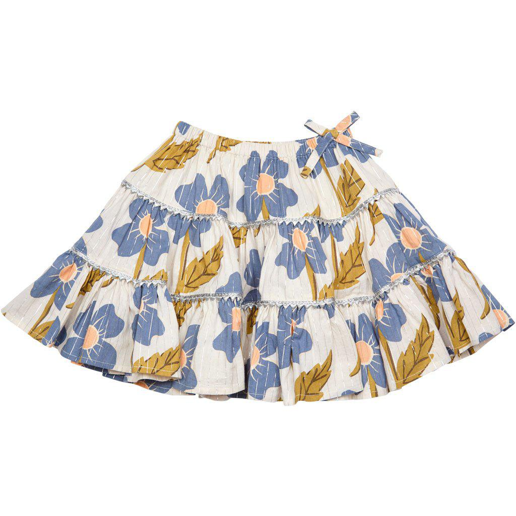 View larger version of Pink Chicken Allie Skirt 2y vapor blue diagonal flower - 19spc214b