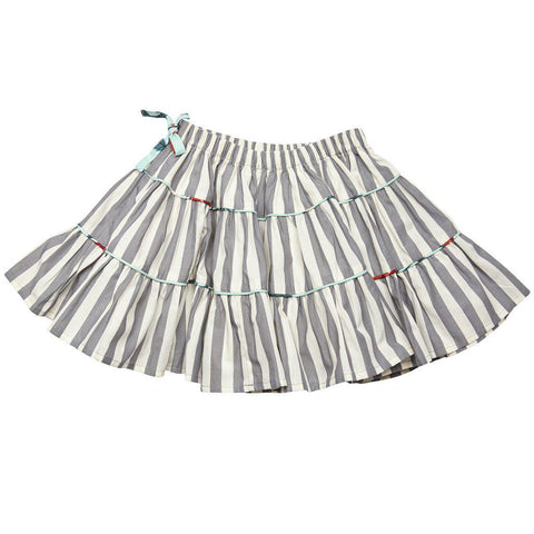 Pink Chicken Allie Skirt 2y smoked pearl gingham/stripe - 17fpc214a