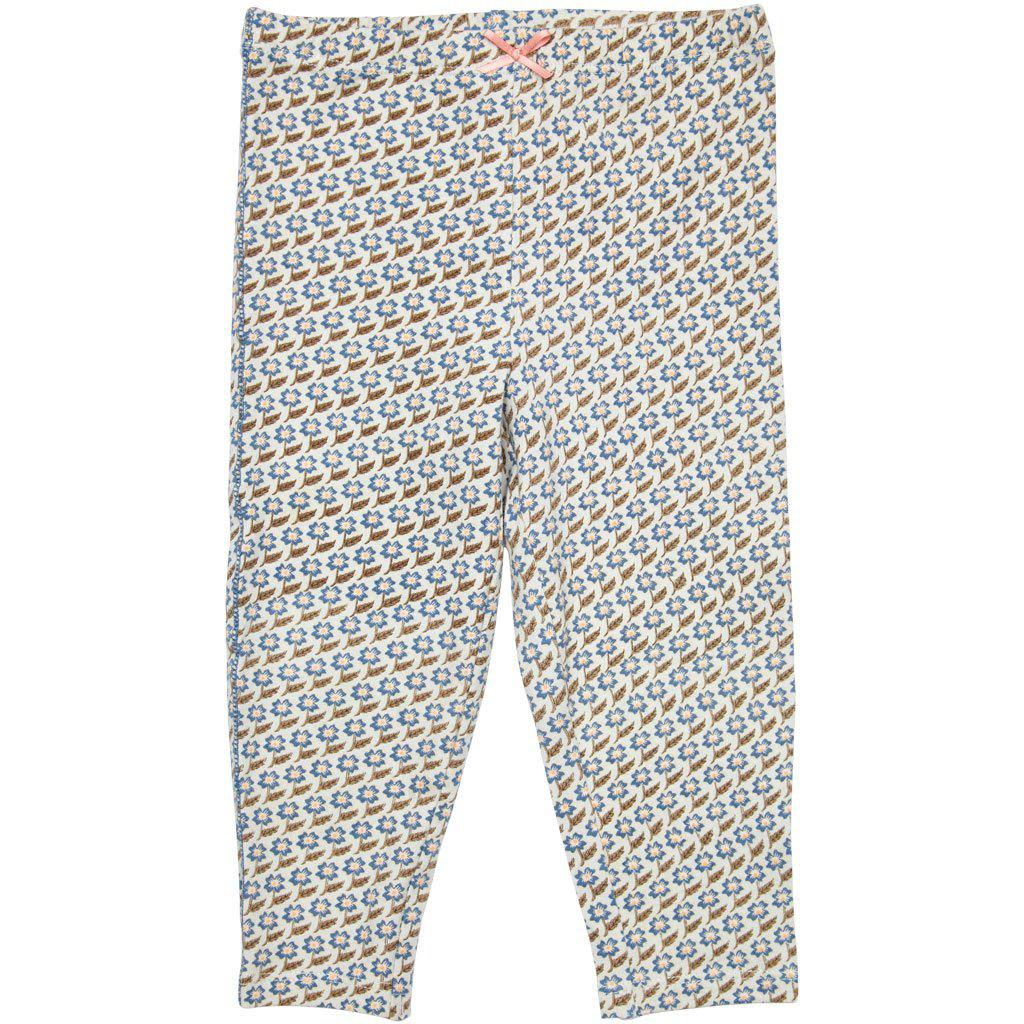 View larger version of Pink Chicken Ankle Legging 2y vapor blue diagonal flower - 19spc503f