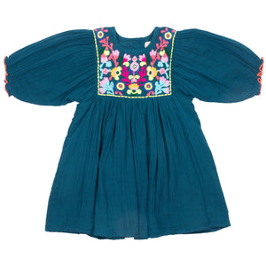 Pink Chicken Arianna Dress 2y ink blue w/multi embroidery - 20espc360b