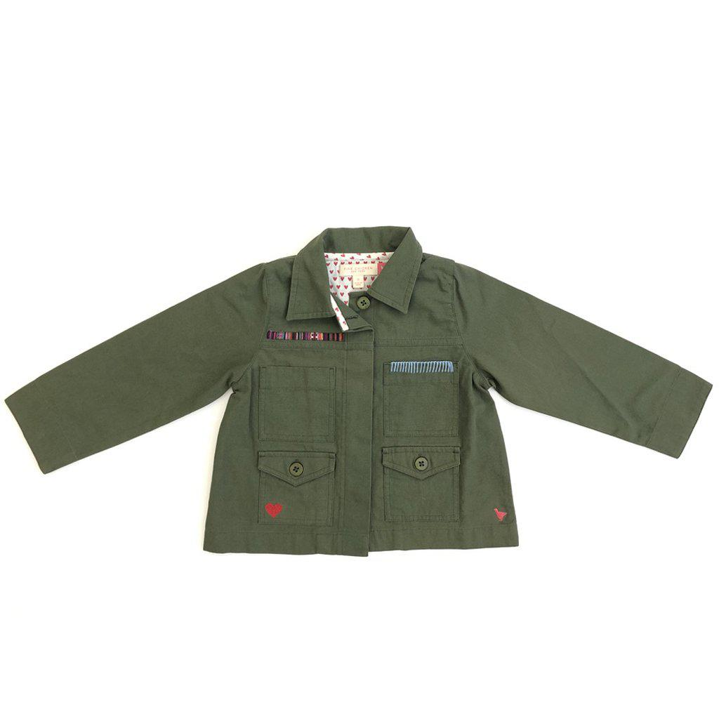 Pink Chicken Army Jacket 2y four leaf clover - 19fpc306a