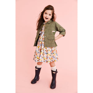 Pink Chicken Army Jacket 2Y four leaf clover