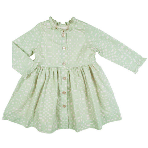 Pink Chicken Autumn Dress 2y frosty green abstract plaid - 19ffpc333b