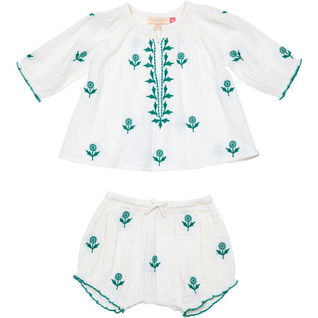 Pink Chicken Ava 2-Piece Set 3/6m white w/embroidery - 19spcb852a