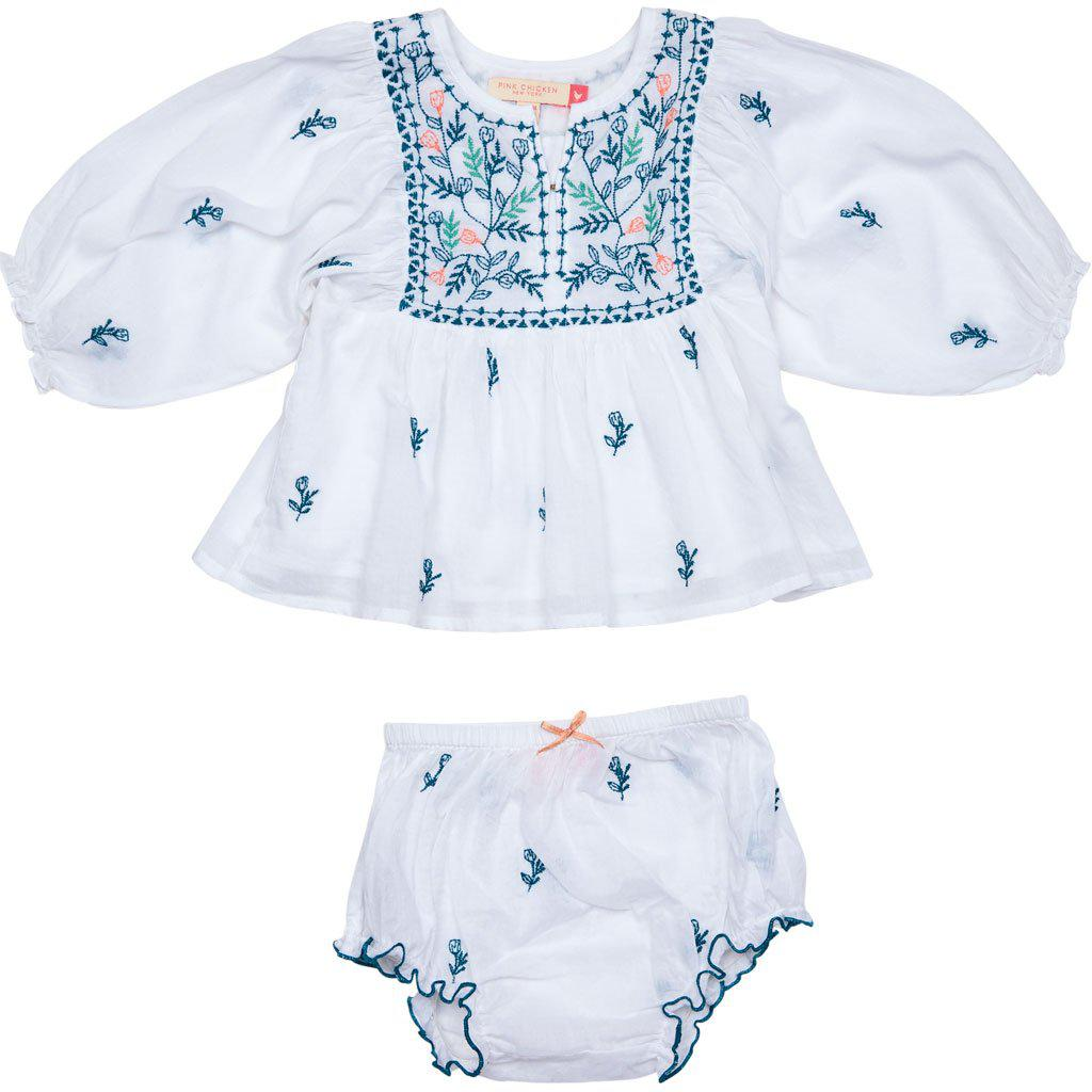 Pink Chicken Ava Bella 2-Piece Set 3/6m white w/ multi embroidery - 19sspcb532a