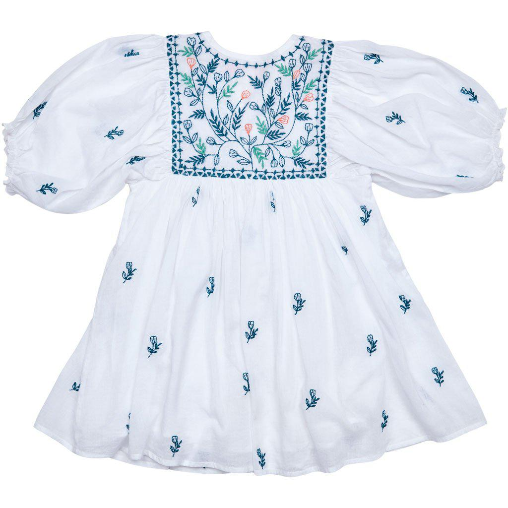 View larger version of Pink Chicken Ava Bella Dress 2y white w/ multi embroidery - 19sspc299a