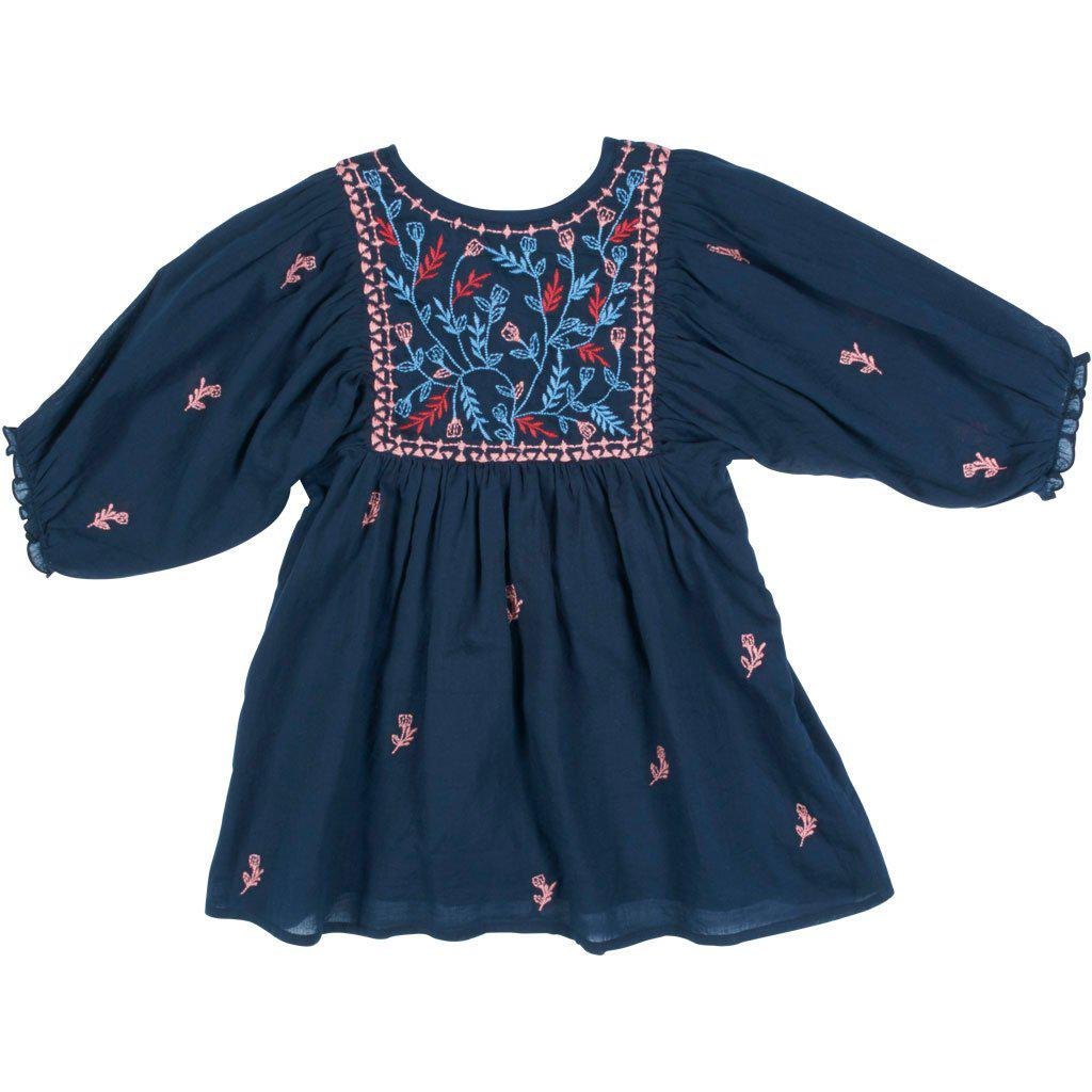View larger version of Pink Chicken Ava Bella Dress 2y dress blues w/multi embroidery - 19fpc299a