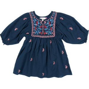 Pink Chicken Ava Bella Dress 2y dress blues w/multi embroidery - 19fpc299a