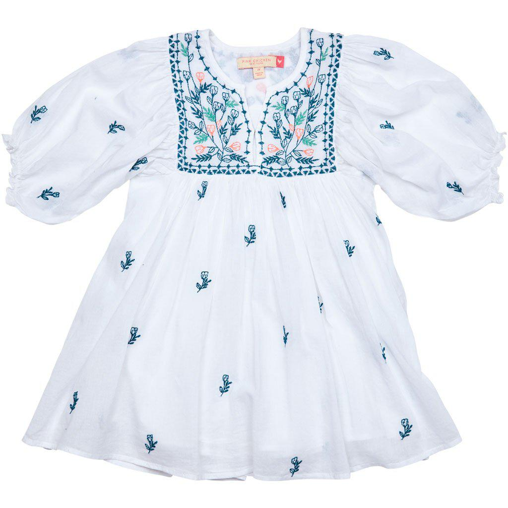 Pink Chicken Ava Bella Dress 2y white w/ multi embroidery - 19sspc299a