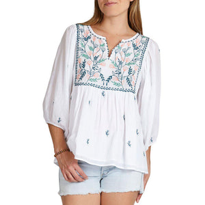 Pink Chicken Ava Bella Top xs white w/ multi embroidery - 19sspcw359a