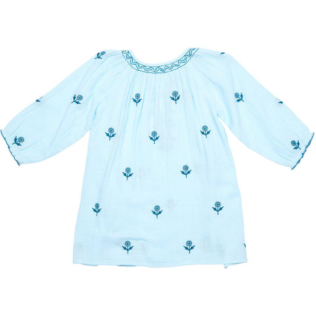 Pink Chicken Ava Dress 2y blue glow w/embroidery - 19spc136c