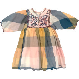 Pink Chicken Ava Bella Dress 2y multi gingham w/ embroidery