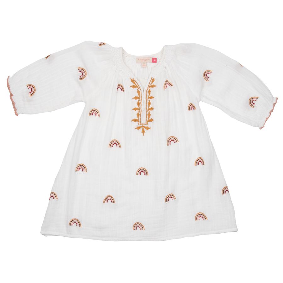 Pink Chicken Ava Dress 2y gardenia w/ rainbow embroidery