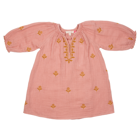 Pink Chicken Ava Dress 2y mellow rose w/ embroidery