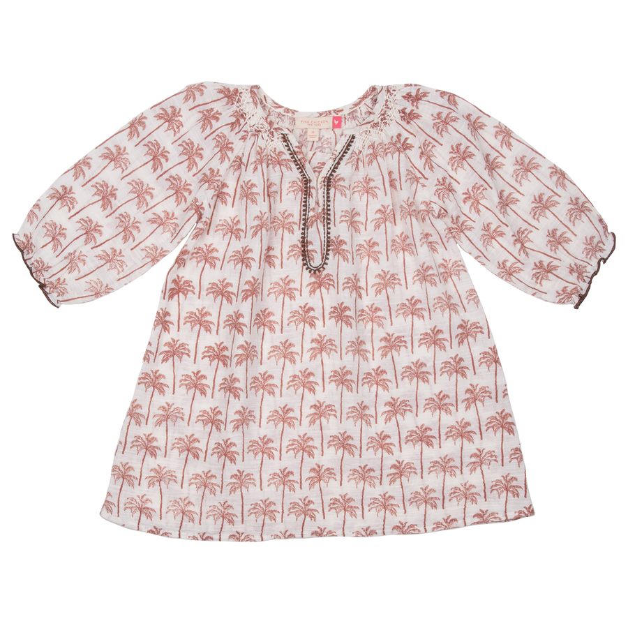 Pink Chicken Ava Dress 2y raw umber pines