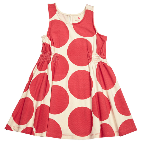 Pink Chicken Avery Dress 2y vintage red oversized dots - 17spc437d