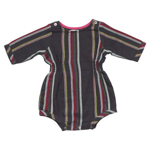 Pink Chicken Avery Romper 3/6m dark navy woven stripe - 17ffpcn909a