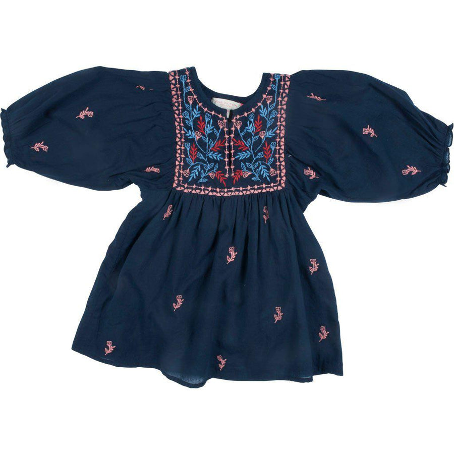 Pink Chicken Baby Ava Bella Dress 3/6m dress blues w/multi embroidery - 19fpcb532a