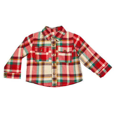 Pink Chicken Baby Jack Shirt 3/6m holiday tartan - 18hbrb214a
