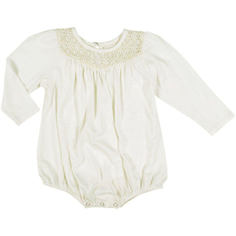 Pink Chicken Kinsley Bodysuit 3/6m antique white w/lace - 19fpcb518a