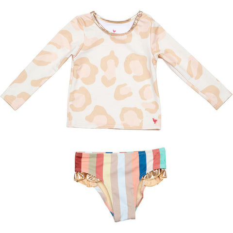 Pink Chicken Baby Rash Guard Set 3/6m antique white oversized leopard - 19spcbs105a