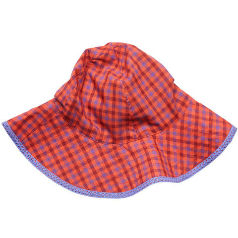 Pink Chicken Sun Hat 2/3y red/purple plaid - 18sspca130d