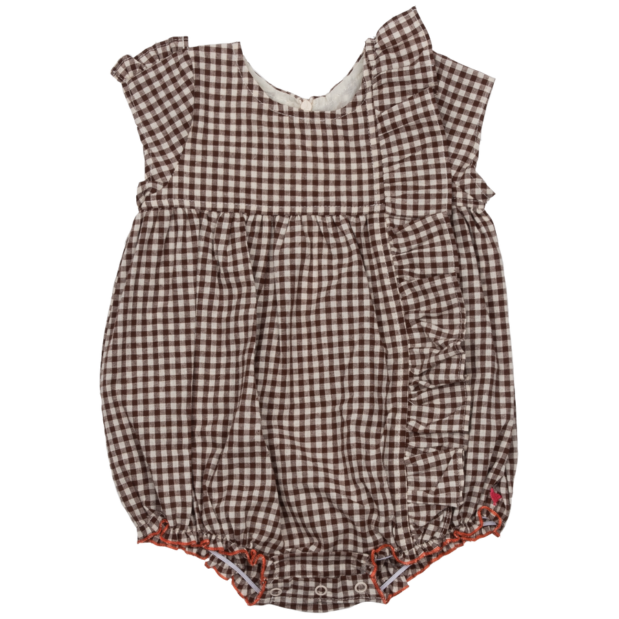 Pink Chicken Cher Bubble 3/6m brown gingham