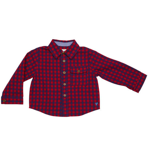 Pink Chicken Jack Shirt 3/6m red/navy gingham - 18fbrb205a