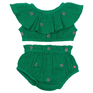 Pink Chicken Loretta 2-Piece Set 3/6m bosphorous green w/ embroidery