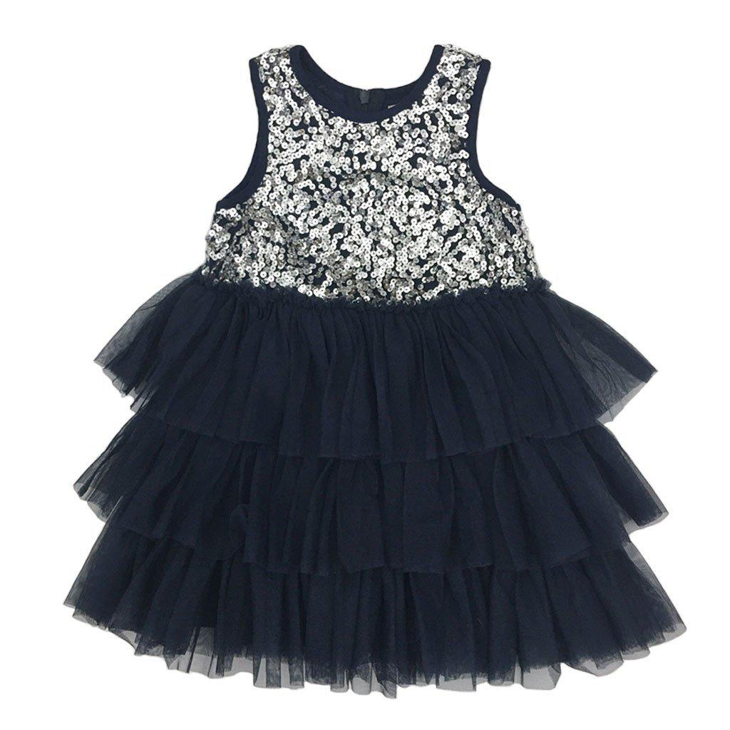 Pink Chicken Beatrice Dress 2y silver sequins w/navy mesh - 16hpc200a
