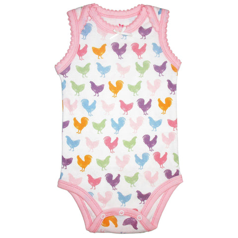 Baby bodysuit featuring colorful pink chicken print