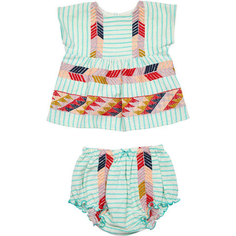 Bette 2 piece set for Baby girl. Pool blue stripe w/ multi colored Peruvian embroidery.