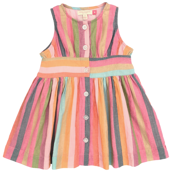 Pink Chicken Birdie Dress 2y multi stripe