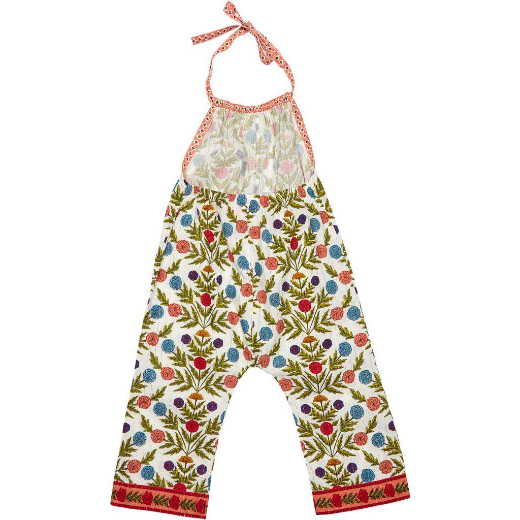 Blaise baby jumper in multi-marigold floral with tie neck. Back angle.