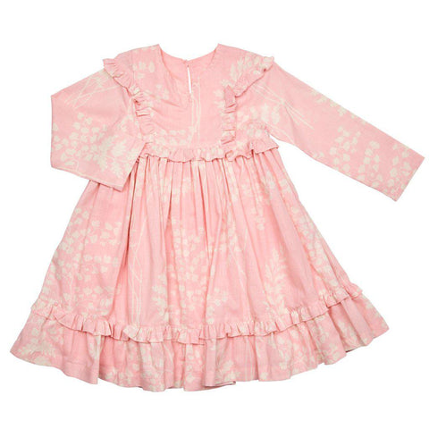 Pink Chicken Blythe Dress 2y crystal rose oversized fern - 19espc294b