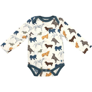 Pink Chicken Oliver Bodysuit 3/6m antique white dogs
