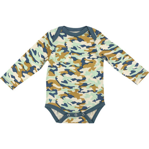 Pink Chicken Oliver Bodysuit 3/6m silver cloud multi camo