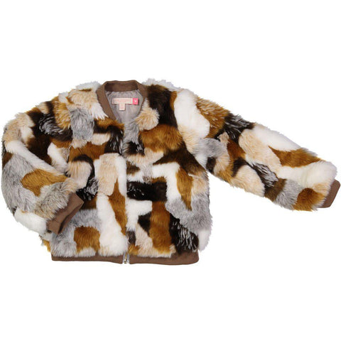 Pink Chicken Bomber Jacket 2y golden tonal fur - 18ffpc324a