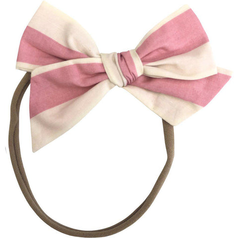 Pink Chicken Fall Baby Bow Headband mauveglow stripe