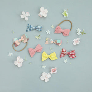 Pink Chicken Bow Clip Set ONE SIZE gingham/stripe