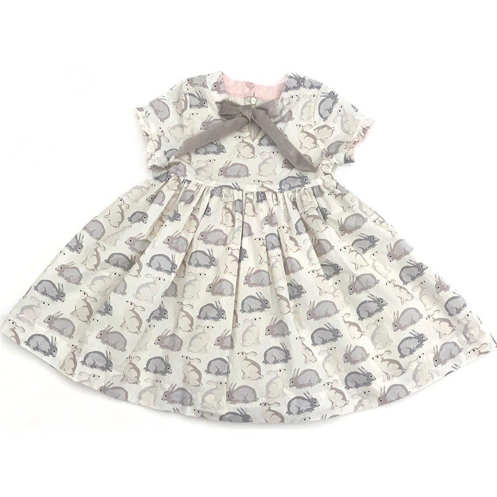 View larger version of Pink Chicken Margaret Dress 2y antique white easter rabbits - 19sspc281a