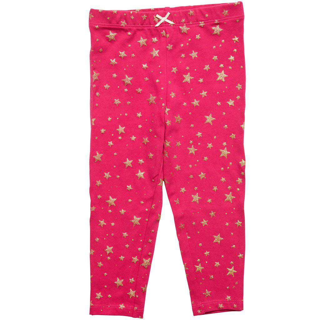 View larger version of Pink Chicken Capri Legging 2y very berry w/gold stars - 18sspc503i