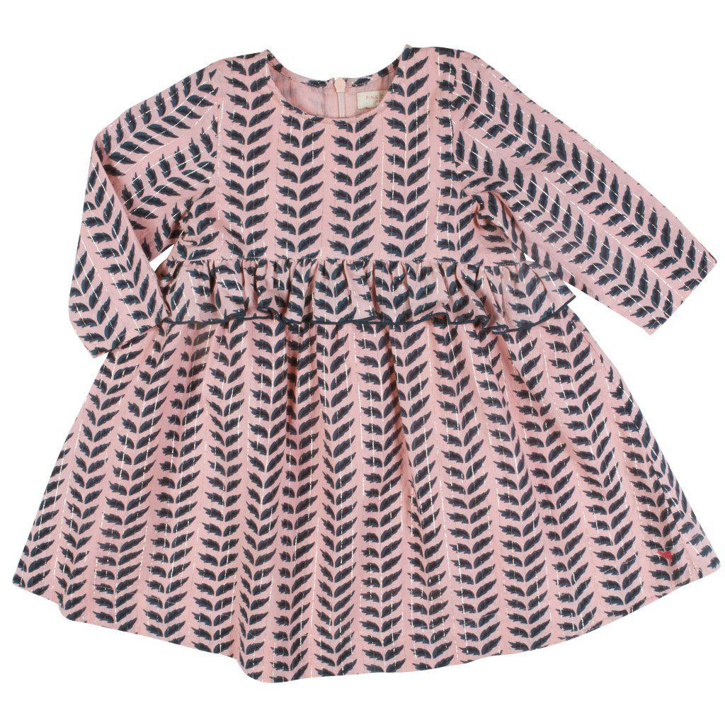 Pink Chicken Caroline Dress 2y 19ffpc222a - crystal rose leaves
