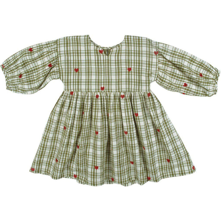 Pink Chicken Celeste Dress 2y army green plaid w/heart emb - 19fpc274b